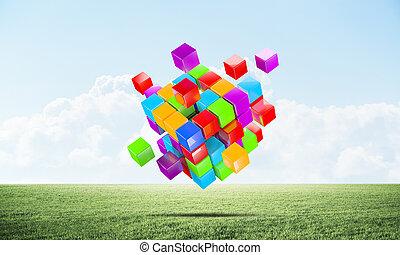 vert, coloré, cubes, résumé, pré