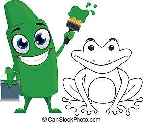 vert, coloration, crayon, grenouille, mascotte