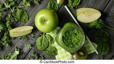 vert, composition, salade, fruits