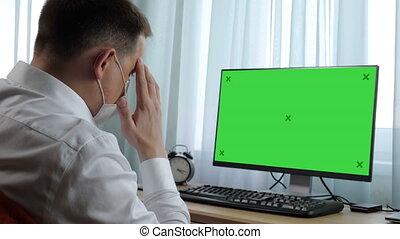 vert, computer., display., sien, regarder, homme, nouvelles, écran, business, maquette