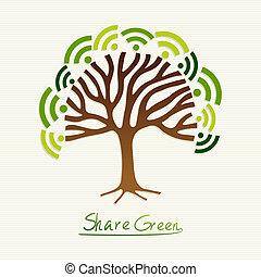 vert, concept, arbre