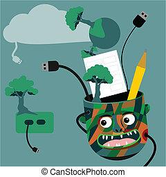 vert, concept, technologie