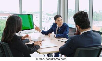 vert, conférence, business, écran, salle, gens