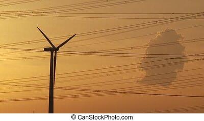 vert, coucher soleil, énergie