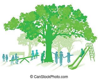 vert, cour de récréation
