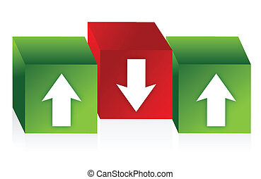 vert, cubes, flèches, rouges
