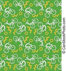 vert, cyclisme, seamless, bonimenter, icônes