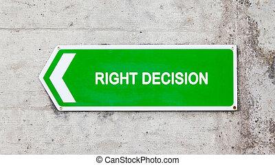 vert, décision, droit, -, signe