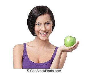 vert, dame, pomme, joli, jeune