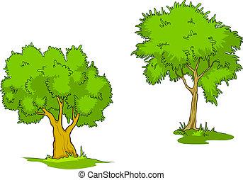 vert, dessin animé, arbres