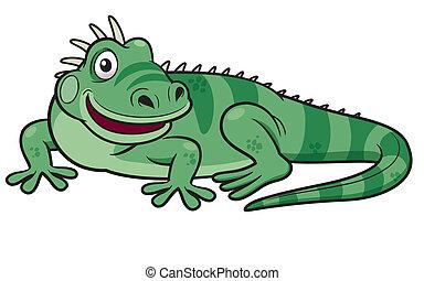 vert, dessin animé, iguane