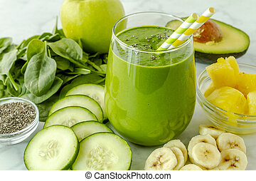 vert, detox, épinards, chou frisé, smoothies