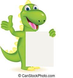 vert, dinosaure, à, signe blanc