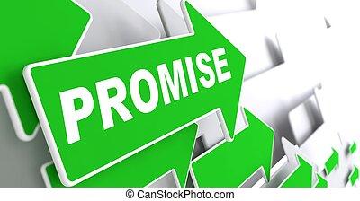 vert, direction, promesse, signe., flèche