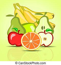 vert, divers, fond, fruits