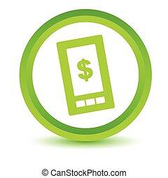 vert, dollar, téléphonez icône