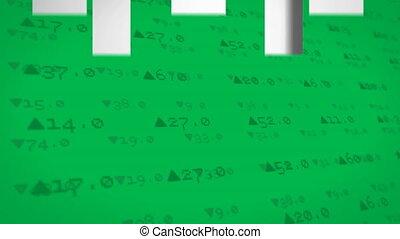 vert, données, en mouvement, écran, contre, bourse