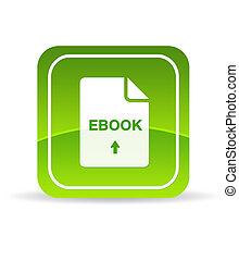 vert, ebook, document, icône