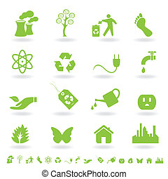 vert, eco, icône, ensemble