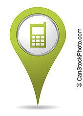 vert, emplacement, mobil, téléphonez icône