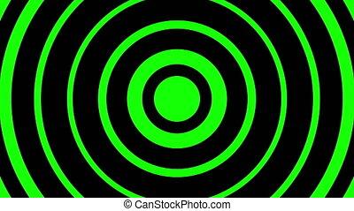 vert, en mouvement, cercles, fond