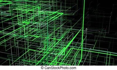 vert, en mouvement, grille, résumé