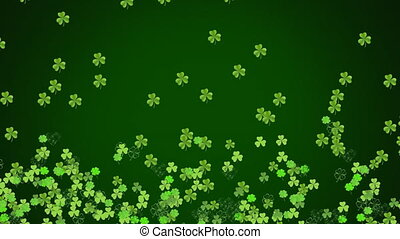 vert, en mouvement, patricks, animation, trèfles, fond...