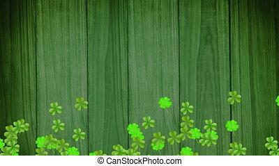 vert, en mouvement, patricks, animation, trèfles, jour, rue.