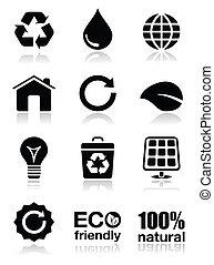 vert, ensemble, écologie, icônes