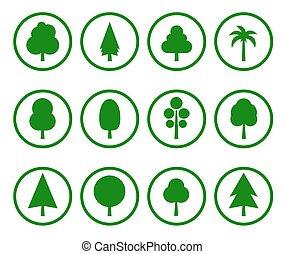 vert, ensemble, arbre