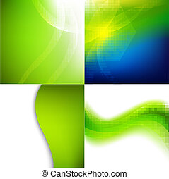 vert, ensemble, arrière-plans, nature