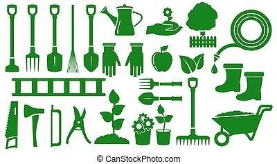 vert, ensemble, outils, isolé, jardin