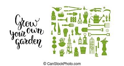 vert, ensemble, outils, jardin