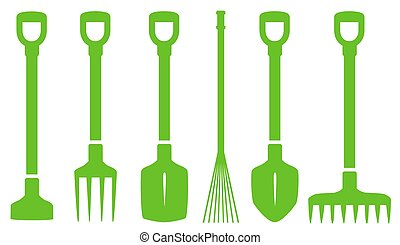 vert, ensemble, outils jardinage