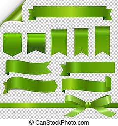 vert, ensemble, rubans