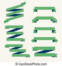 vert, ensemble, rubans, plat