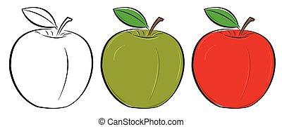 vert, esquissé, pomme, rouges