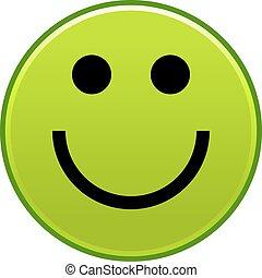 Emoticon Visage Smiley Gai Vert Sourire Heureux Toile