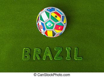 vert, fait, mot, herbe, football