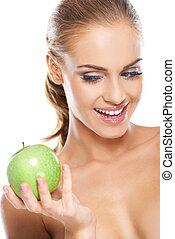 vert, femme, croquant, pomme, heureux