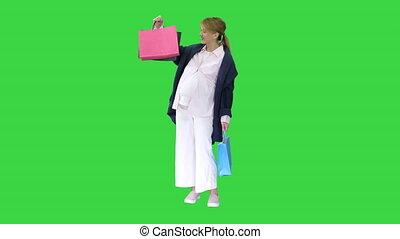 vert, femme, sacs, achats, beau, écran, key., heureux, ...