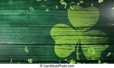 vert, feuille flottante, patricks, animation, trèfles,...