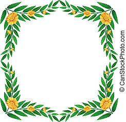 vert feuillu, fleurs, frontière