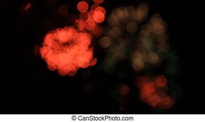 vert, feux artifice, bokeh., rouges, white.