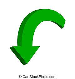 vert, flèche, 3d