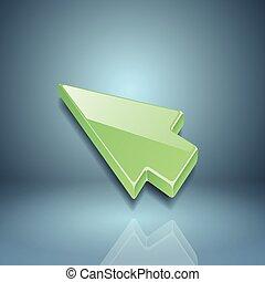 vert, flèche, curseur, sur, arrière-plan gris
