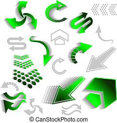 vert, flèche, icônes