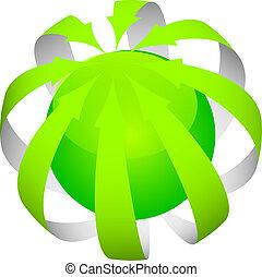 vert, flèches, autour de, mondiale