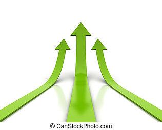 vert, flèches