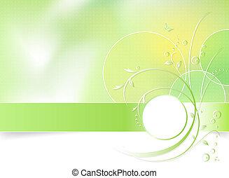 vert, fleur source, fond